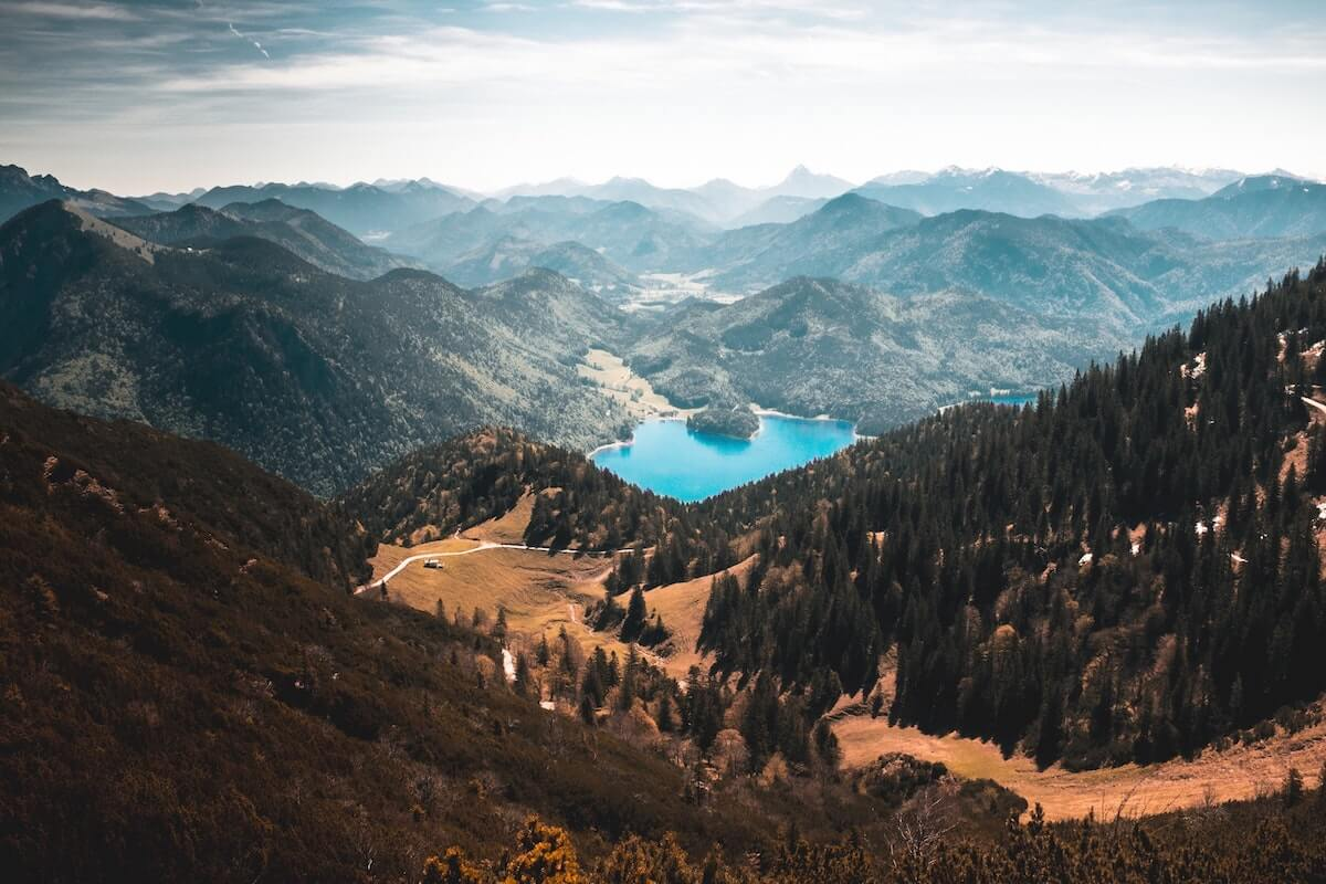 A beautiful mountain lake in a valley in Walchensee, Germany.